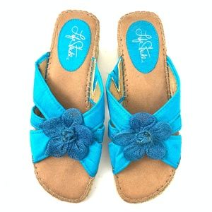 Life Stride Blue Flower Ribbon Wedge Sandal 8.5
